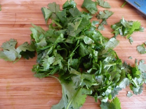 Cilantro is an excellent, cooling garnish---if it doesn't taste like soap to you, that is.