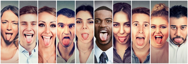 Group of multicultural people men and women sticking out their tongues